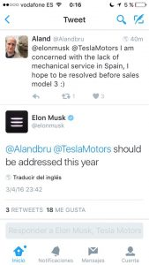 Twitter de confirmación de Concesionario en España