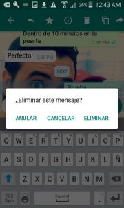 Eliminar WhatsApp del emisor y receptor