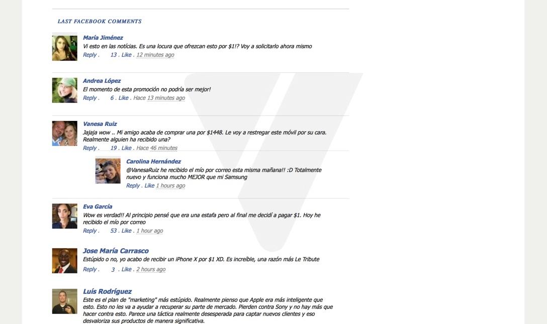 Comentarios que intentar dar certeza a los hechos, pero si hacemos click en ellos no llevan a Facebook.