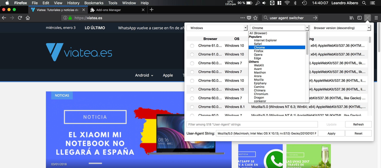 Simular otros dispositivos en macOS en firefox con los agentes web