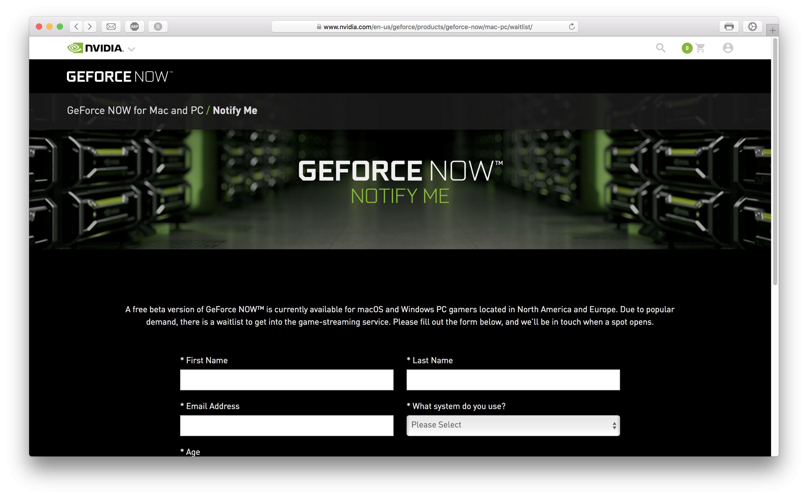 Página de registro de GeForce Now para acceder a la lista de espera