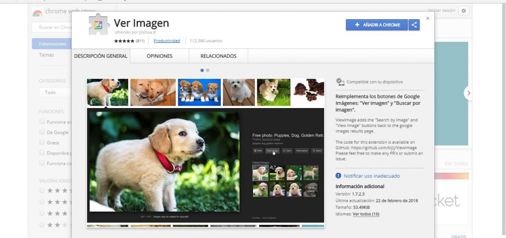 extension ver imagen chrome web store