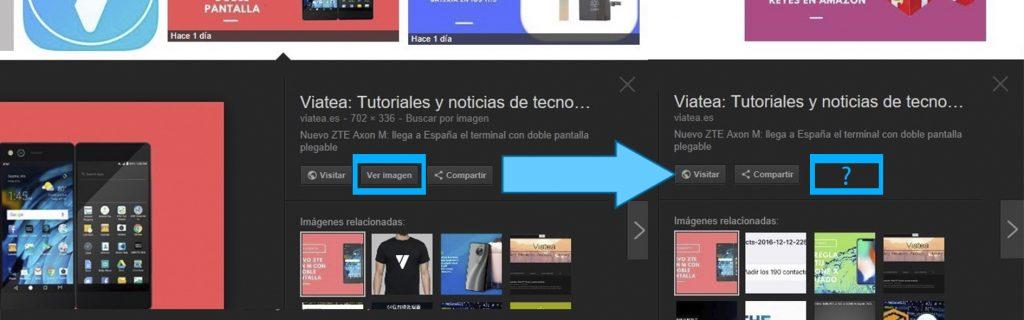 desaparece el botón ver imagen en Google Imágenes