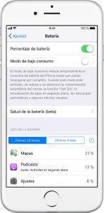 Pantalla ajustes batería iOS 11