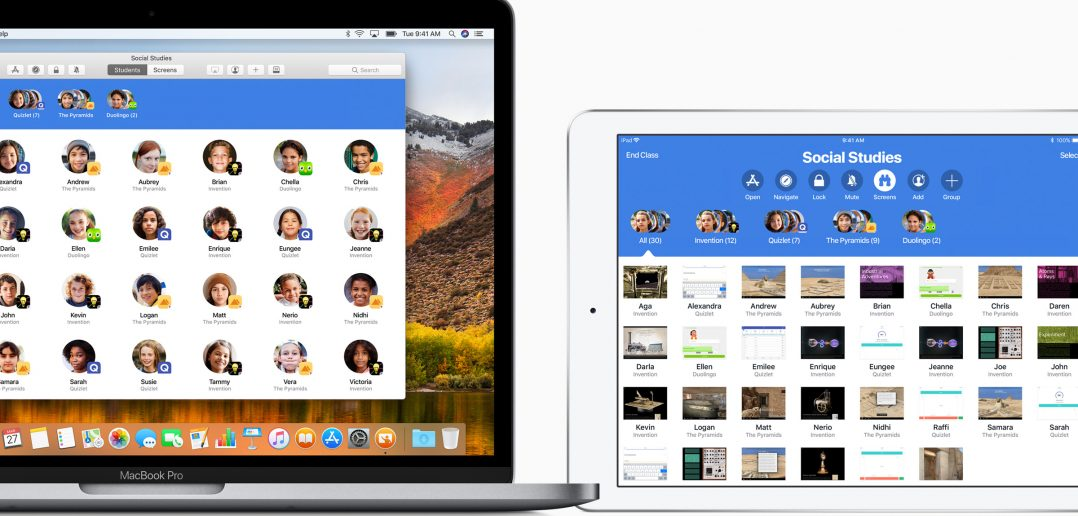 Interfaz en varios dispositivos de la aplicación Aula, parte de Everyone can create