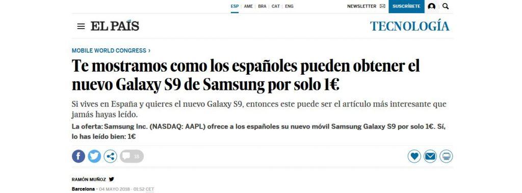 Galaxy S9 por 1 euro