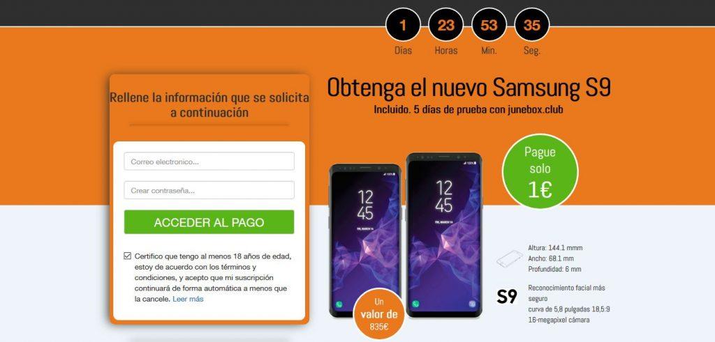 Samsung Galaxy S9 por 1 euro