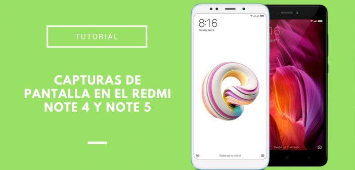capturas de pantalla en el Xiaomi Redmi Note 4 y Xiaomi Redmi Note 5