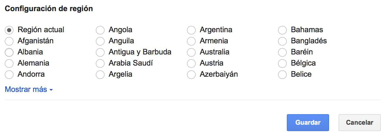 configuración de la región en la búsqueda de google