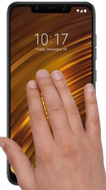 captura gesto tres dedos pocophone poco f1