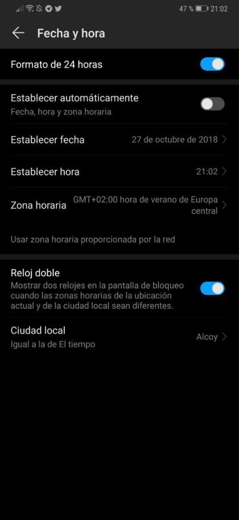 cómo cambio hora android