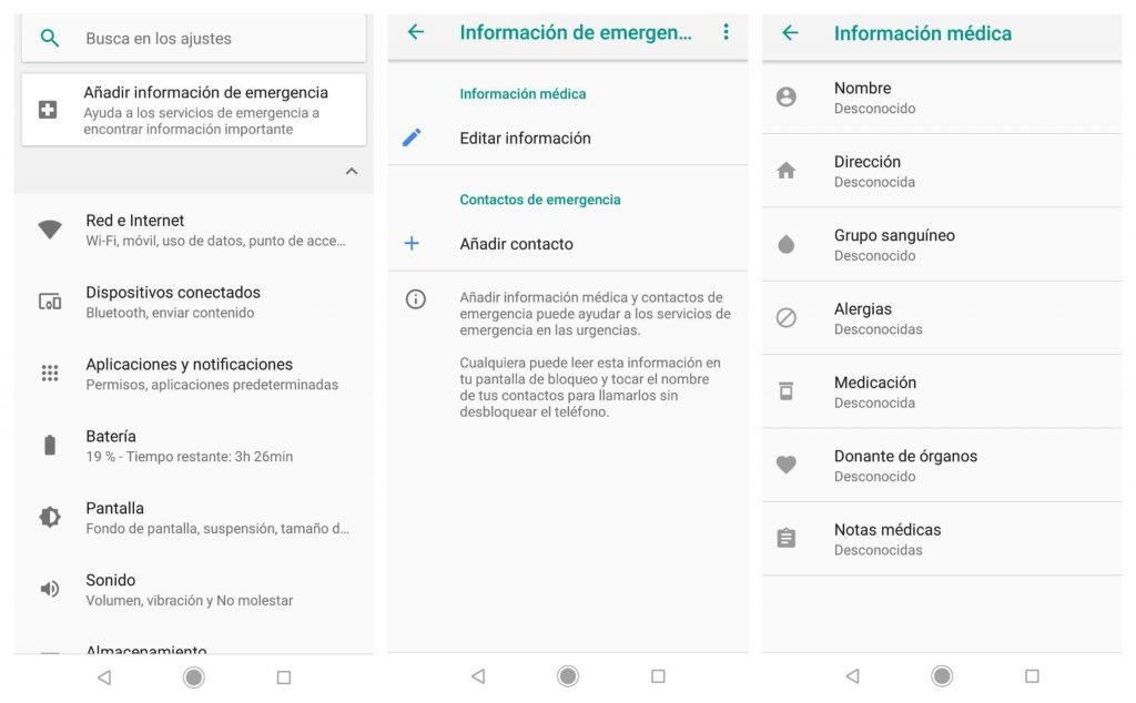 cómo añadir información de emergencia en el Xiaomi Mi A2