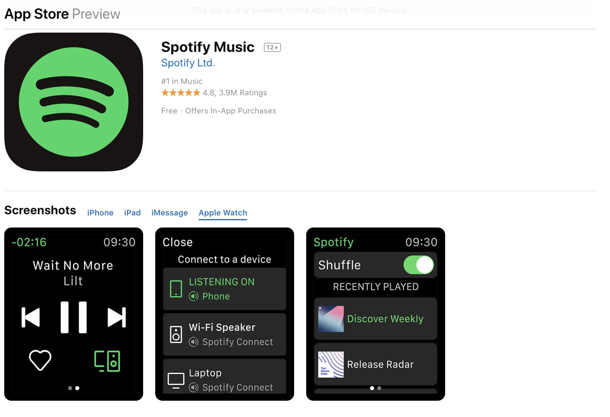 Spotify para Apple Watch App Store