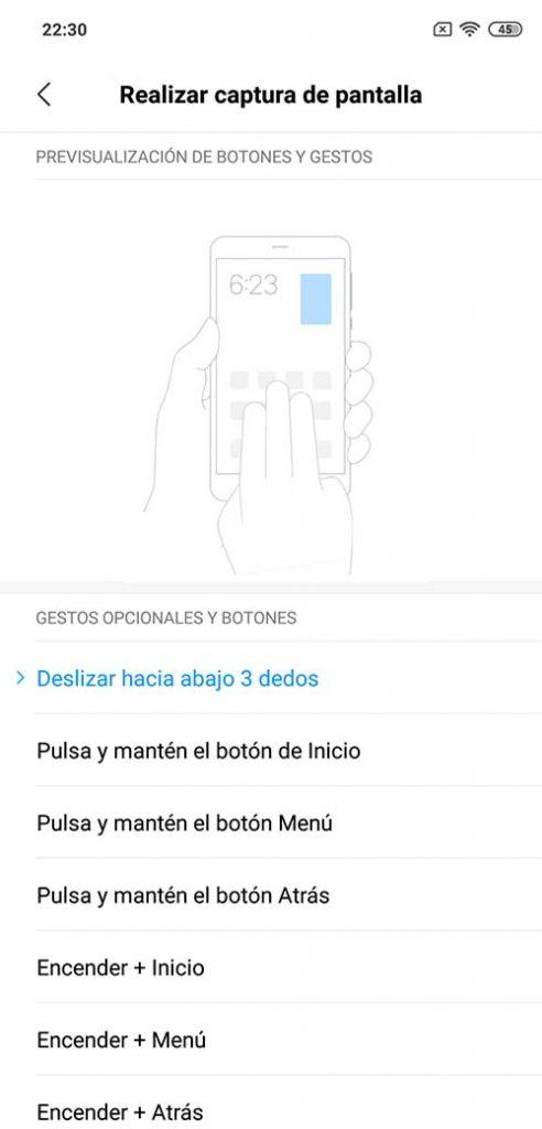 Cambiar gestos Xiaomi capturas de pantalla xiaomi redmi 8
