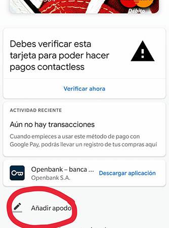 añadir apodo android pay