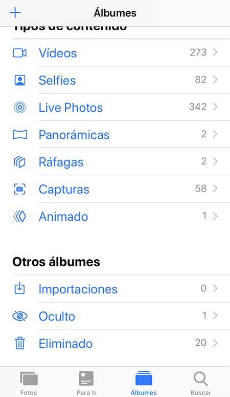 ver fotos ocultas iPhone
