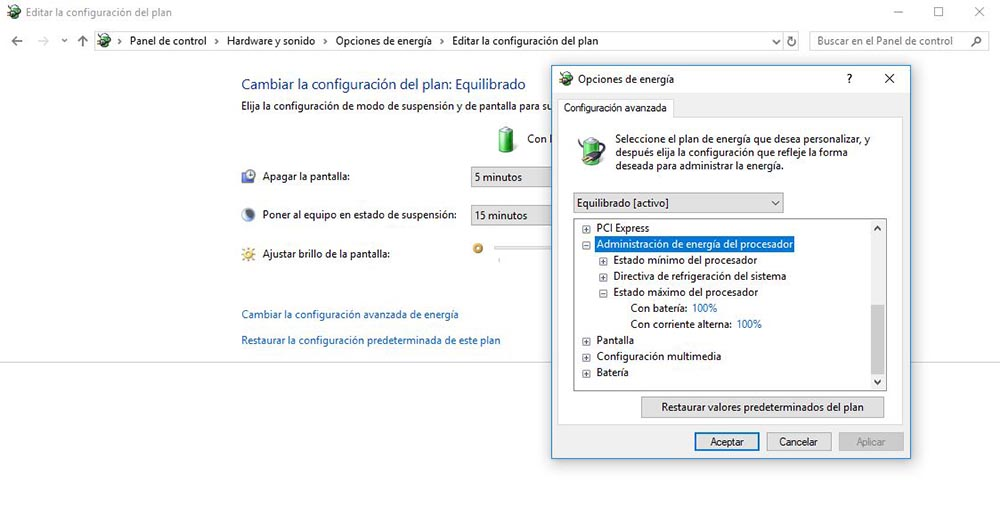 opciones energia windows