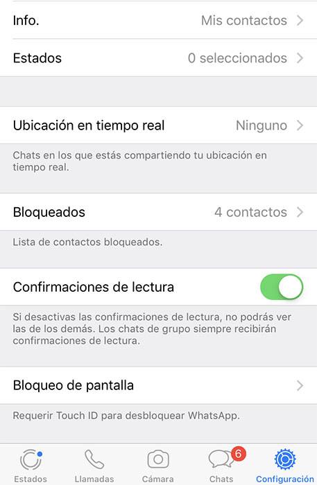 opciones privacidad whatsapp