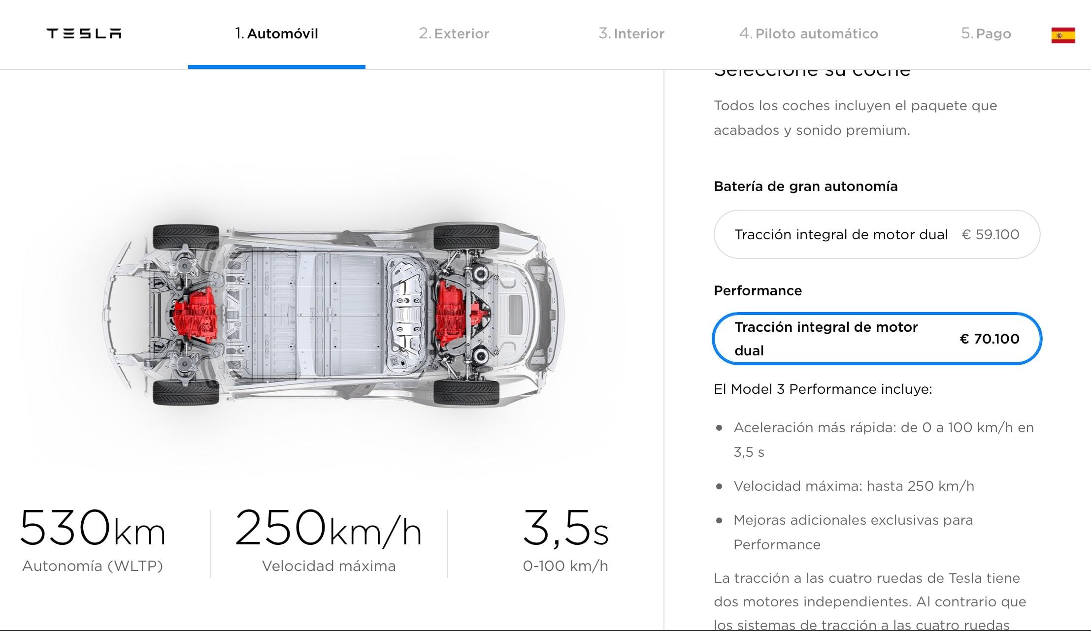 configuración y precios del model 3 en españa