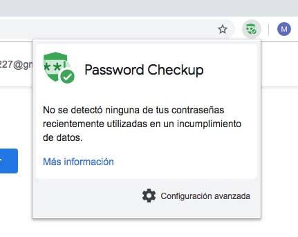 password checkup bien instalado