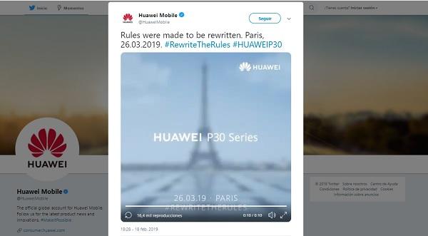 La serie P30 de Huawei se presentará en marzo