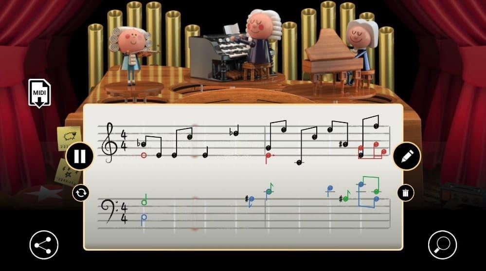 Doodle Bach melodía armonizada