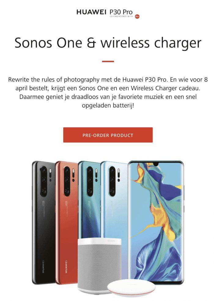 Huawei P30 imagenes comerciales Sonos One y caragdor inalámbrico