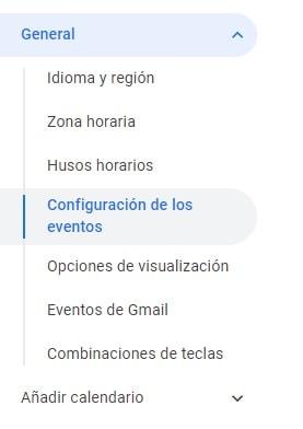 Google Calendar Configuración de los eventos