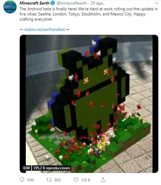 Tweet de Minecraft Earth