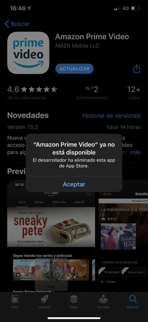 Amazon Prime Video desaparece de la App Store