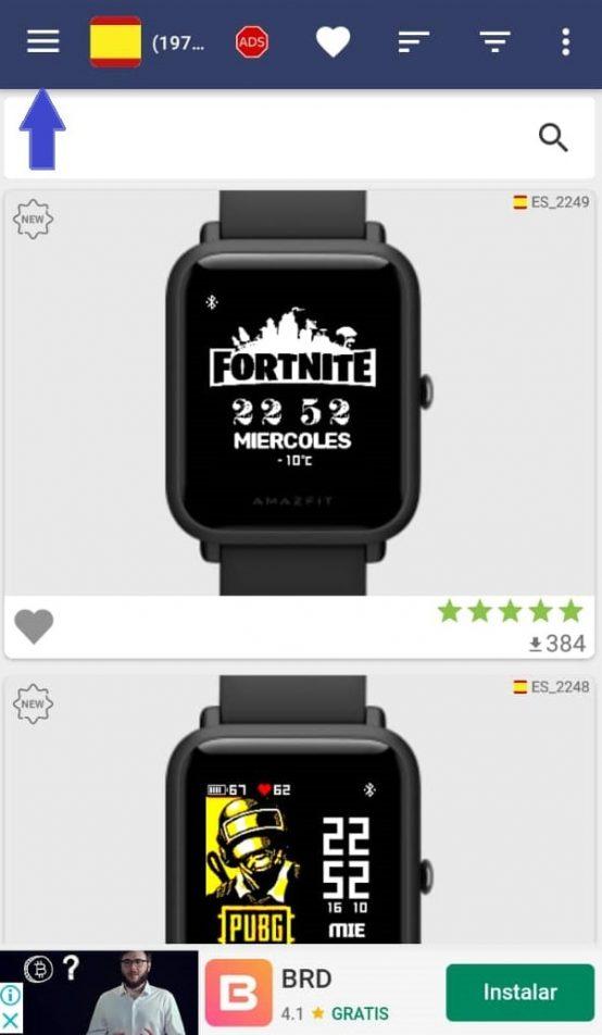 Menú de idiomas en app Amazfit Bip & Cor Watchfaces