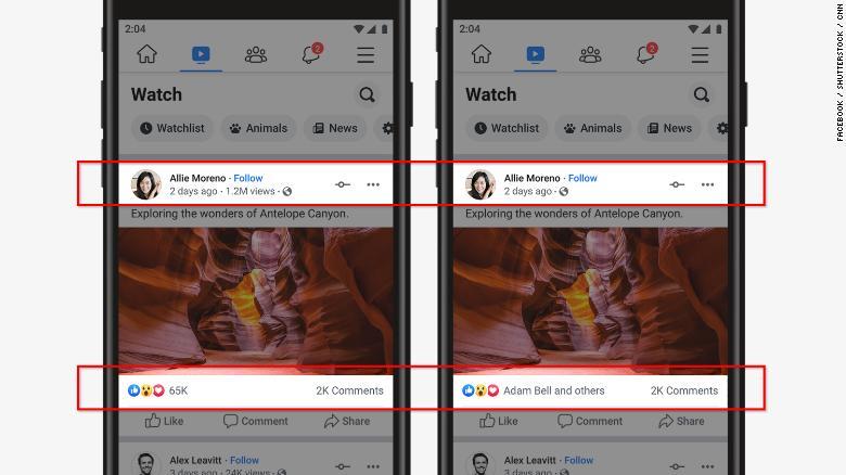 Facebook oculta likes