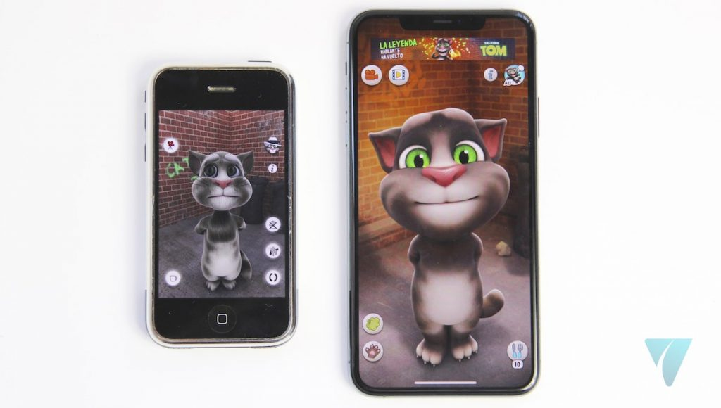 iPhone 11 Pro Max y iPhone 2G Talking Tom