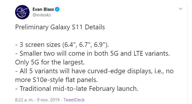 serie S11 Samsung tamaño