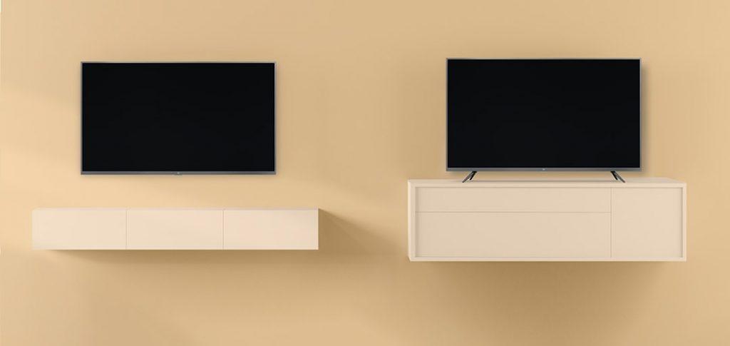 Mi TV 4S en pared y mesa