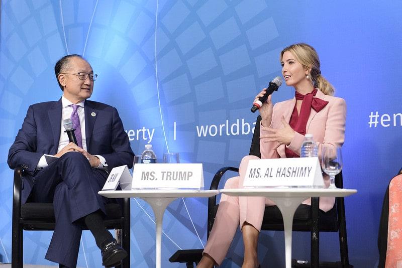 Ivanca Trump con el presidente del WBG.