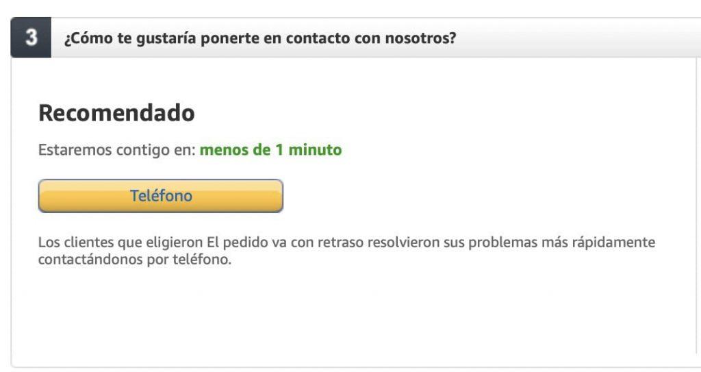 Opción para que Amazon España te llame