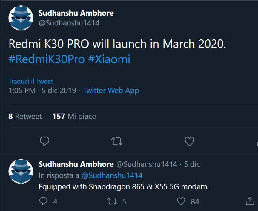 K30 Pro Tweet de aplazo de lanzamiento