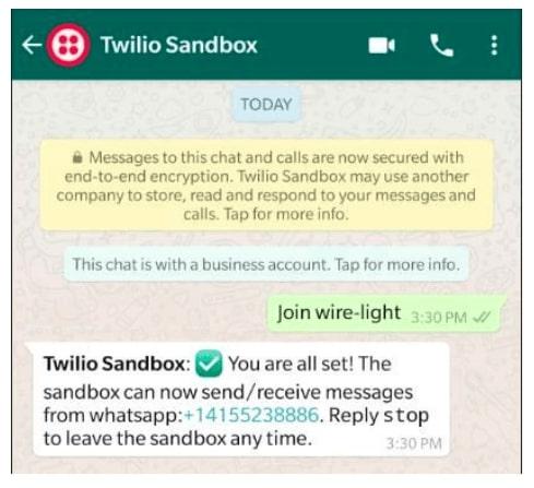 Mensaje de Twilio Sandbox