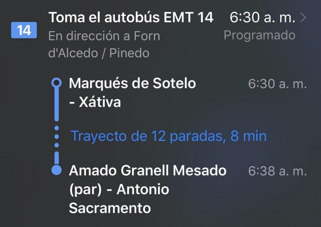 EMT valencia en Apple Maps
