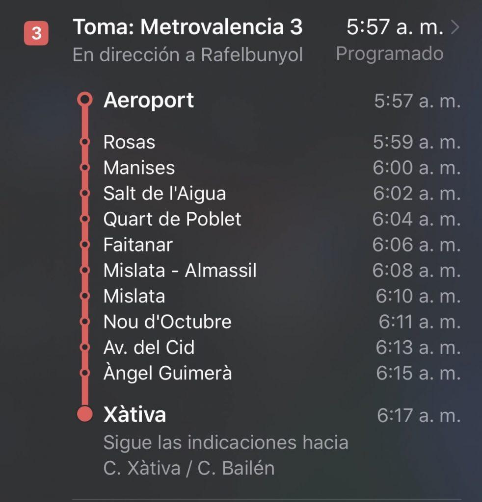 Metrovalencia paradas en Apple Maps
