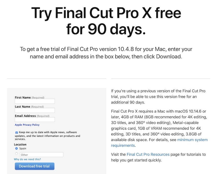 Prueba de 90 días de Final Cut Pro X