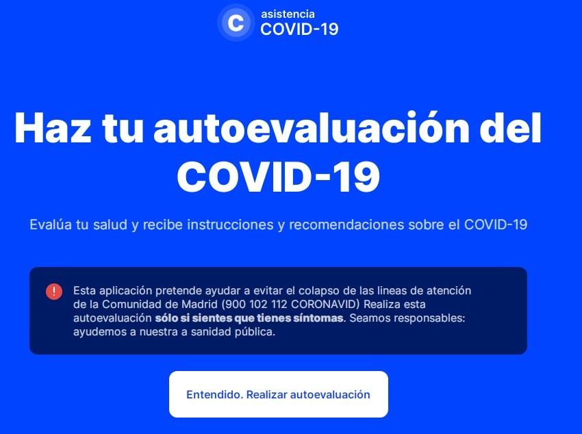 Pagina principal de aplicación de Coronavirus de Madrid