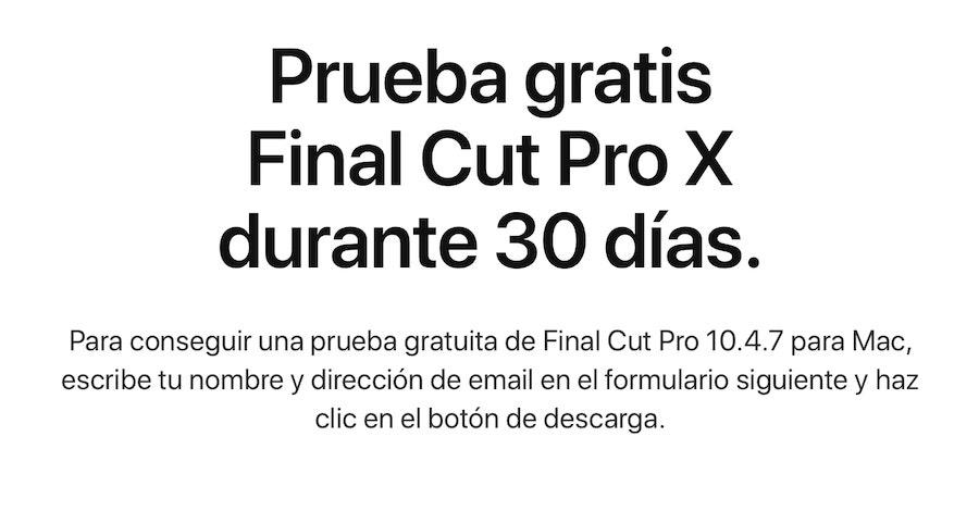 Prueba de 30 días de Final Cut Pro X según la web de Apple