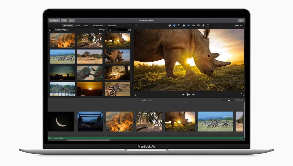 MacBook Air 2020 en iMovie
