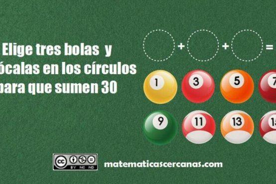 selecciona 3 bolas y colócalas dentro de los círculos 1