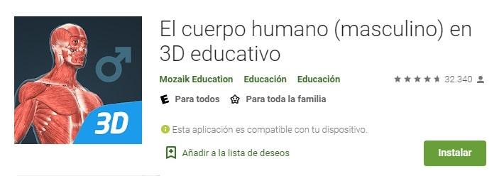 App El Cuerpo Humano en 3D Educativo