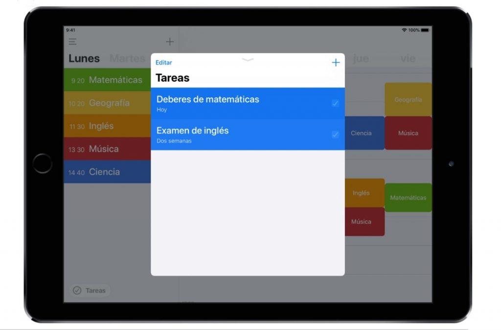 App Horario de Clases en iPad