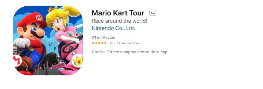 Mario Kart Tour, juego del iPad para niños de 7 años