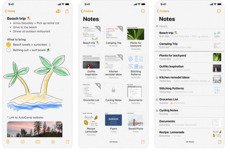 Aplicación Notes de Apple